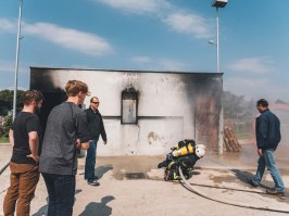 Firefighting training during the STCW course in Croatia.